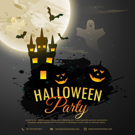 flying bats: halloween night background with creepy castle, ghost, pumpkin and flying bats
