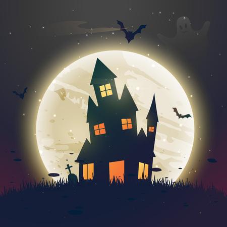 eng spookt Halloween huis voor maan