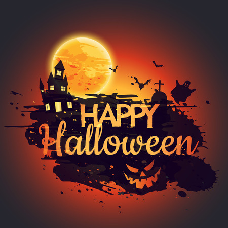 happy halloween poster with creepy castle Illustration