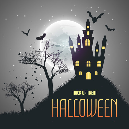 house at night: halloween house night sky background with moon and flying bats