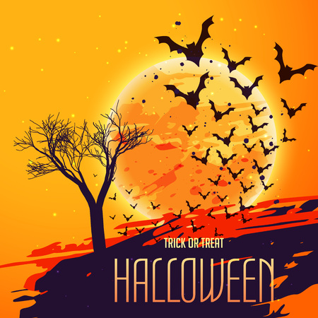 flying bats: halloween celebration background with flying bats