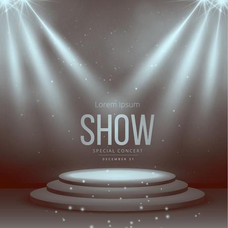 podium met schijnwerpers in vintage kleuren Stock Illustratie