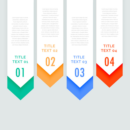 going down: four steps infographic vertical banners with arrow going down