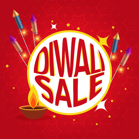 crackers: diwali sale poster with festival crackers and diya