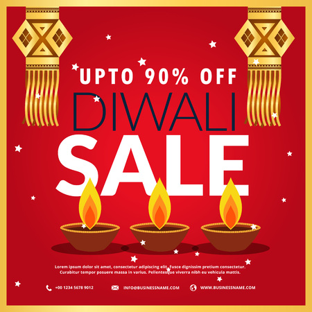 hanging lamp: diwali festival sale poster with three diya and hanging lamp in red background Illustration