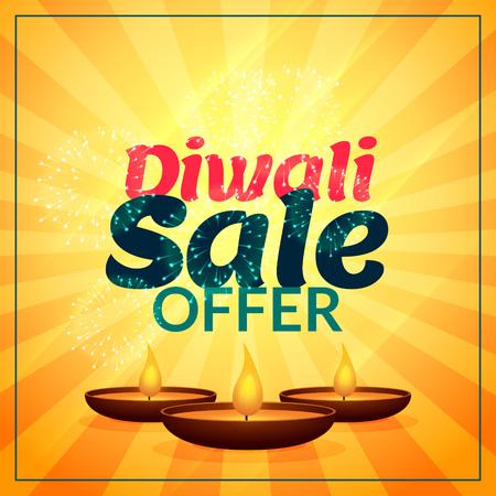 diya: diwali sale offer with three diya Illustration
