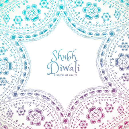 shubh diwali: beautiful floral paisley decoration with shubh diwali text