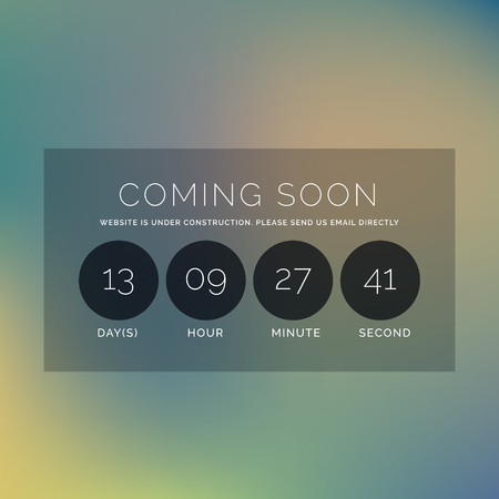 countdown: blurred background with coming soon text and countdown timer Illustration