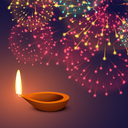 diya: festival fireworks background with diya