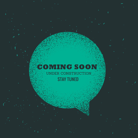comin soon text placed on blue chat bubble Illustration