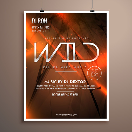 remix: wild party flyer flyer template in abstract background with orange lights