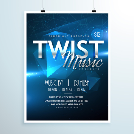 remix: abstract music party flyer template invitation in abstract blue background