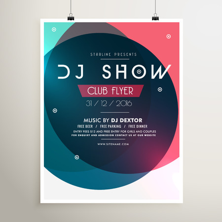 event party: awesome music party event flyer template with colorful shapes