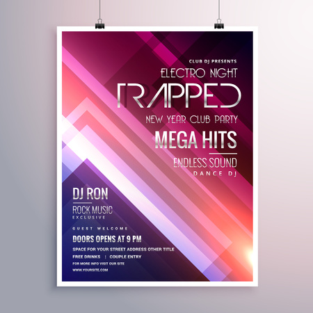 remix: amazing shiny lights music flyer template with abstract stripes background