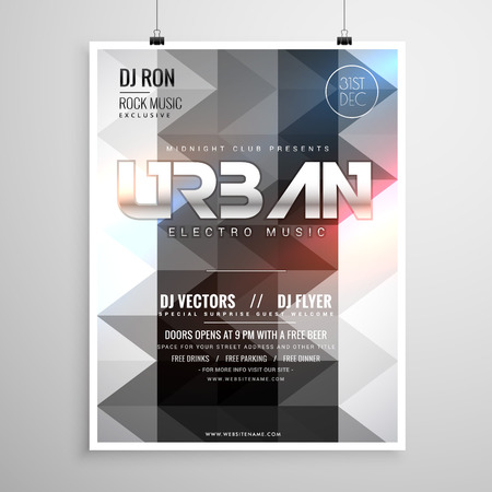remix: urban music party flyer template with abstract geometric shapes and glowing lights Illustration