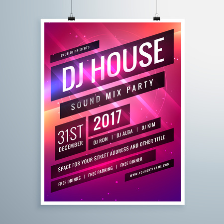 event party: music sound party event flyer template in abstract pink background