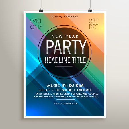 event party: party event flyer template with colorful stripes