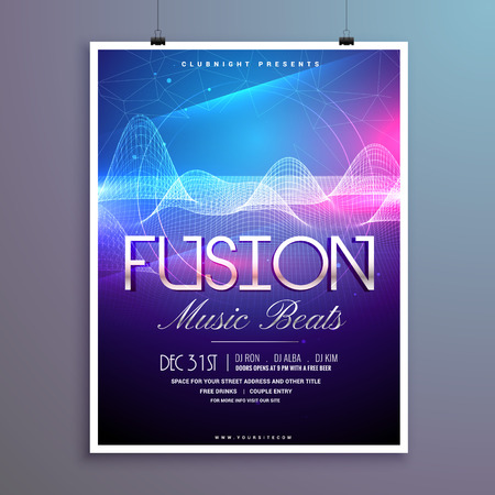 remix: music beats party flyer template with sound waves and colorful lights Illustration