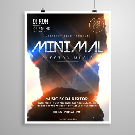 remix: minimal grunge style music party flyer template with glowing lights Illustration