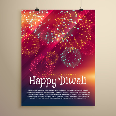 auspicious: fireworks background flyer template for diwali festival
