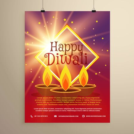 diyas: happy diwali flyer template with glowing star and three diyas