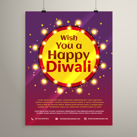 festival of lights: diwali festival wishes flyer invitation with lights bulbs in a circle