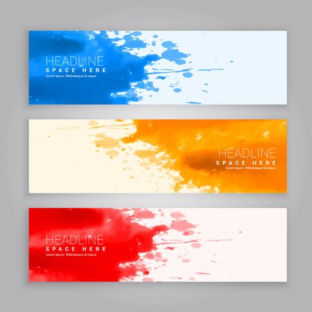 web template: abstract grunge ink splash web banners template