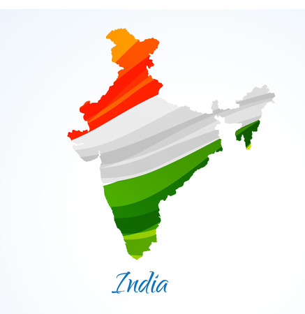 tricolor: map of india with tricolor