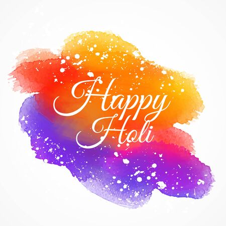 colorful ink stain with happy holi text Illustration