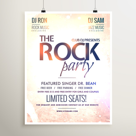 rock party music  flyer template with textured background Illustration