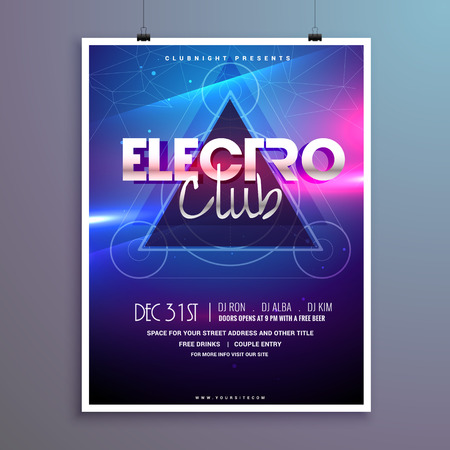 club music party flyer invitation card with shiny lights effect Illustration