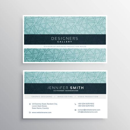 minimal: blue business card minimal template with abstract triangle patterns Illustration