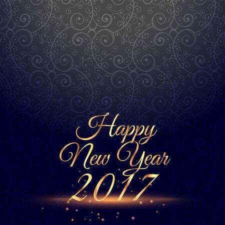 new years background: amazing happy new year 2017 celebration background with floral decoration Illustration
