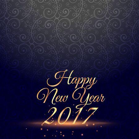 amazing happy new year 2017 celebration background with floral decoration Illustration