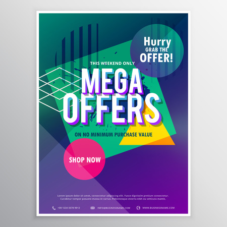 mega sale: promotional mega sale brochure flyer template with abstract geometric colorful shapes