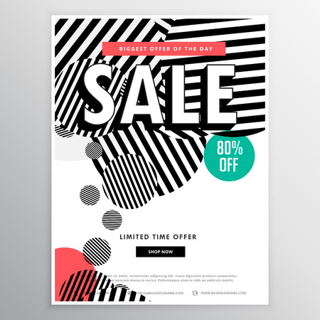 amazing sale brochure template with abstract circles lines shapes Illustration