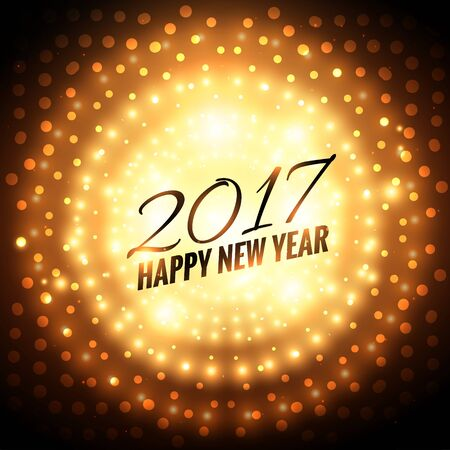 new year party: 2017 new year party celebration background with golden light effect