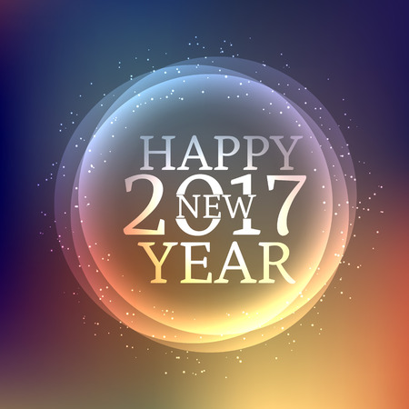 text year: glossy happy new year text style placed on shiny colorful background