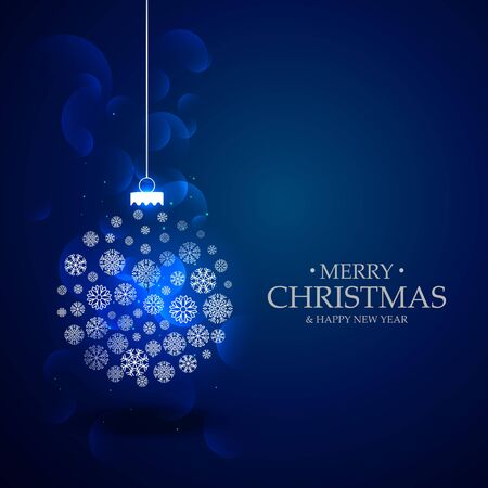 year greetings: beautiful blue background with christmas festival ball made with snow flakes decoration