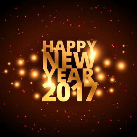 year greetings: golden happy new year wishes for 2017 with golden sparkles
