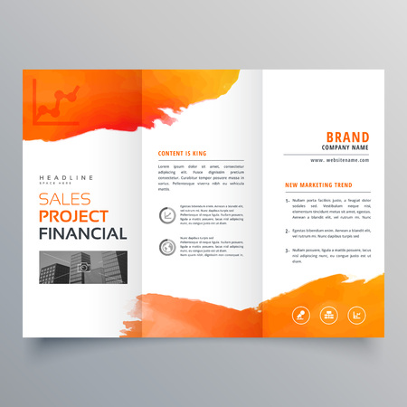 stylish creative business trifold brochure template with orange ink design