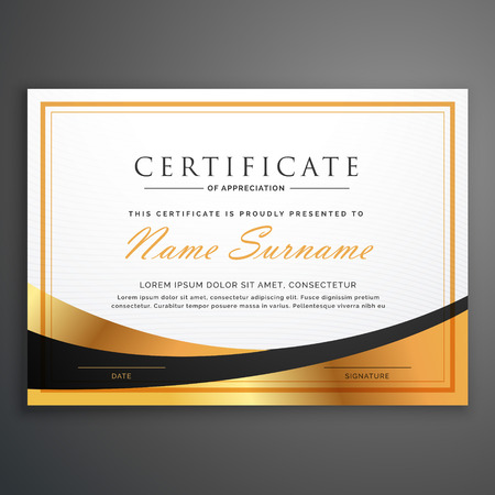 certificate template deisgn with golden wave Vectores