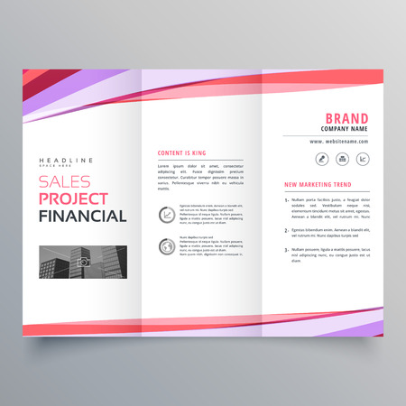 creative trifold business brochure template layout with colorful wavy lines Иллюстрация