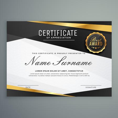 modèle de prix élégant certificat d'appréciation en couleur noire et dorée Vecteurs