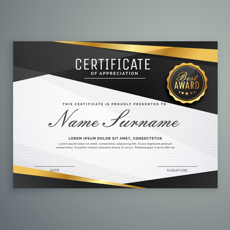stylish certificate of appreciation award template in black and golden color
