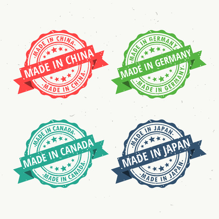 made in china, germany, canada, and japan rubber stamps set Illustration