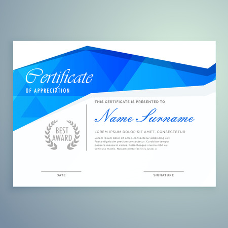 Stylish Modern Certificate Template Design With Blue Abstract