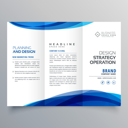 stylish blue wave business brochure template for marketing royalty