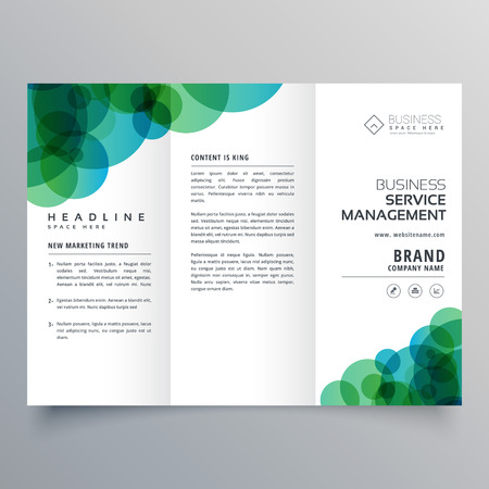 Business trifold brochure layout template with abstract blue modern abstract green and blue circles business trifold brochure template vector cheaphphosting Images
