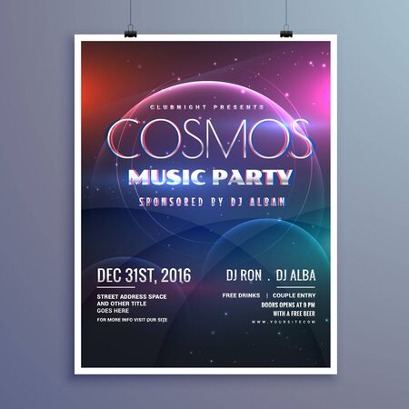 event party: cosmos music party event flyer template in modern creative style Illustration